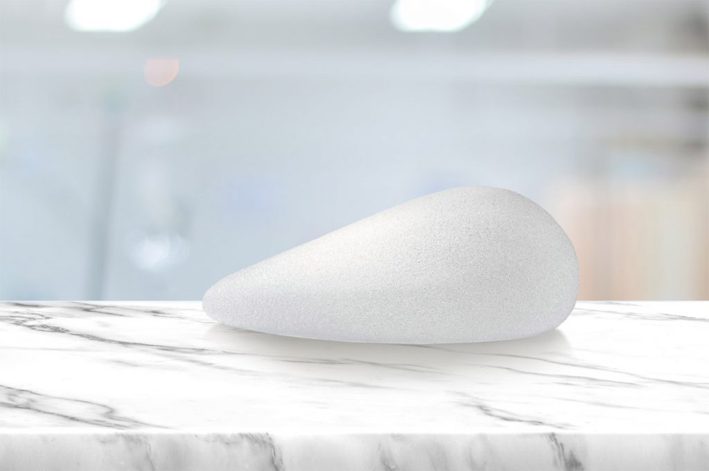 Textured breast implant on a table